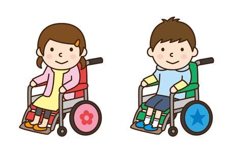 Boy and girl riding in wheelchair