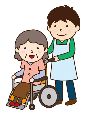 home care nurse: Wheelchair and grandmother Illustration