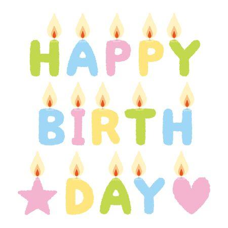 birthday candles: Illustration of birthday candles, HAPPY BIRTH DAY