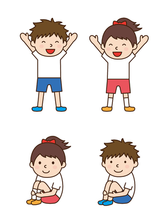 Children to gymnastics  イラスト・ベクター素材