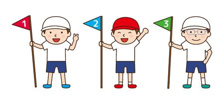 line up: Children line up in rank order Illustration