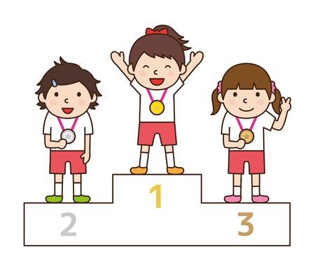 Children up to the podium