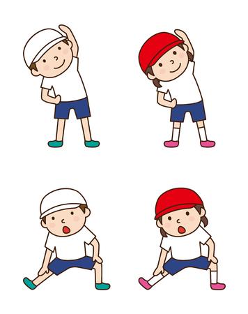 sport cartoon: Children to gymnastics Illustration
