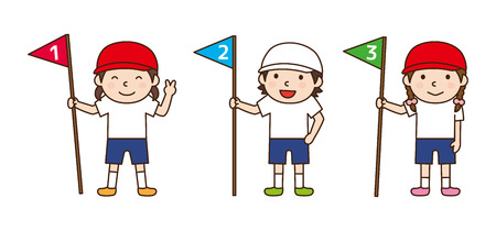 rank: Children line up in rank order Illustration