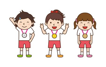 子供がメダルを取得します。