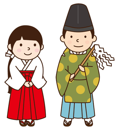 shrine: Shrine Maiden and shinto priest
