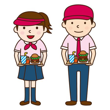 fast food: Fast food restaurants clerk Illustration