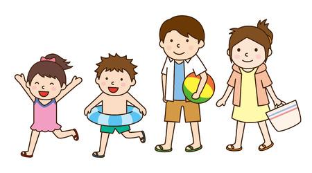 家族で海水浴  イラスト・ベクター素材