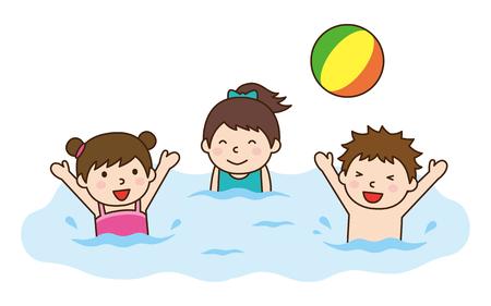 enfant maillot de bain: Enfants jouant sur le ballon de plage