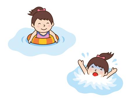 溺れている少女と少女は、リングを泳ぐ  イラスト・ベクター素材
