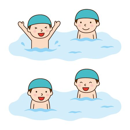 水泳少年  イラスト・ベクター素材
