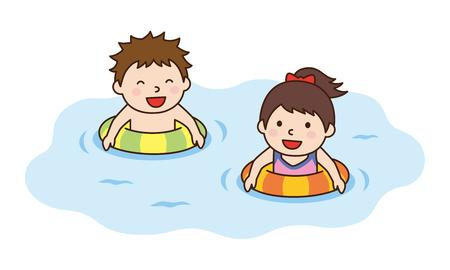 子どもたちが遊ぶ水泳リング