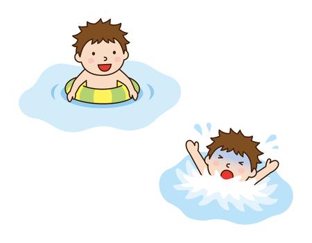 溺れている少年と少年は、リングを泳ぐ