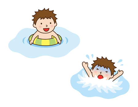 drowning: Swim ring and boy, and drowning boy