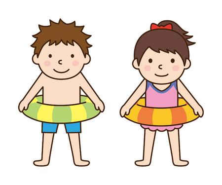 男の子と女の子の水着