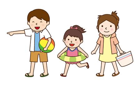 bathing: Sea bathing with family