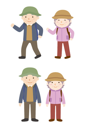 elderly couple: Hiking to elderly couple Illustration