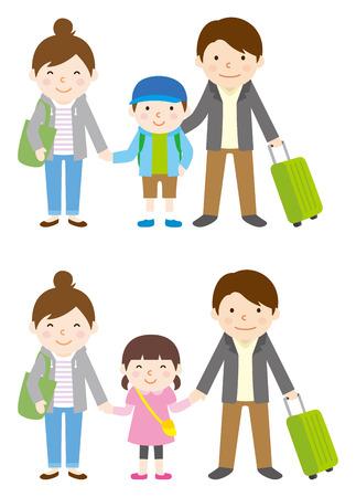 familias felices: Viaje de la familia de la primavera y el otoño