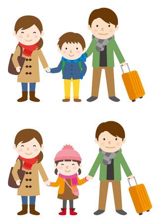 冬の家族旅行  イラスト・ベクター素材