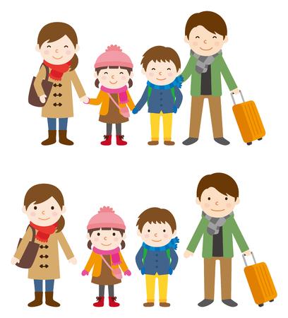 冬の家族旅行 写真素材 - 45061125