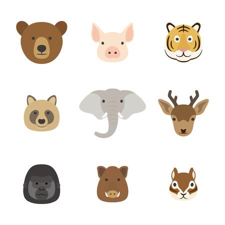 動物顔セット 写真素材 - 46365504