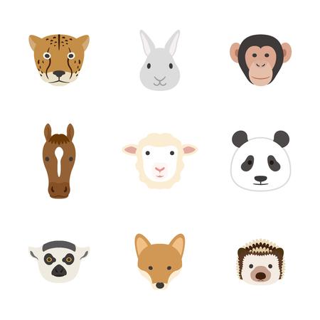 Animal face set  イラスト・ベクター素材