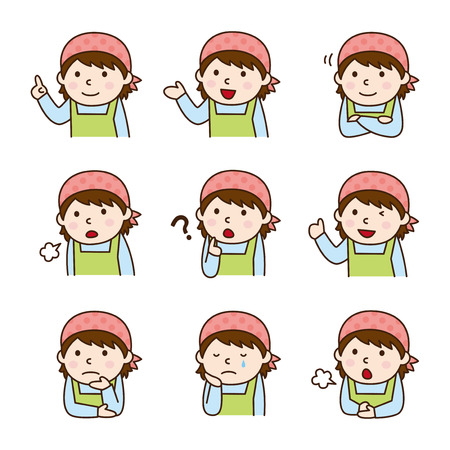guidance: Set of Wearing an apron in various poses Illustration