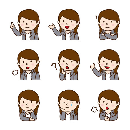 Set of Female businessman in various poses