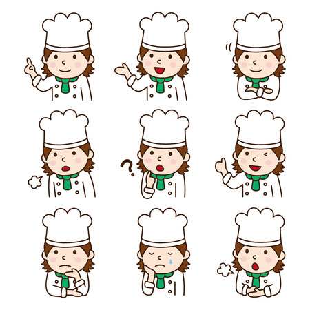 Set of Female chef in various poses