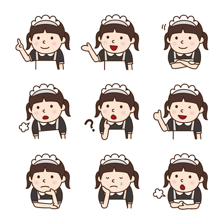 Set of Waitress in various poses  イラスト・ベクター素材