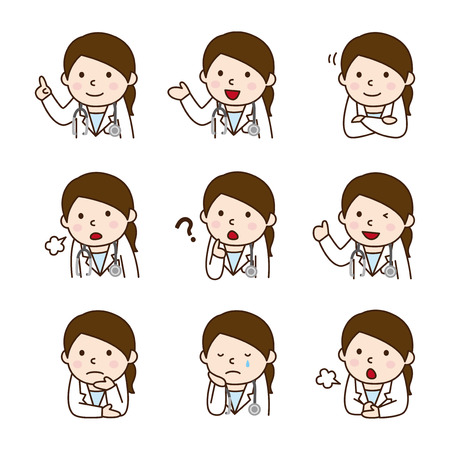 Set of Female doctor in various poses Vectores