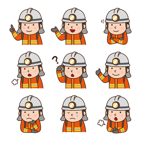 suggestions: Set of Firefighter in various poses Illustration