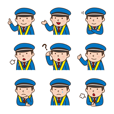suggestions: Set of Security guard in various poses Illustration