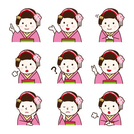 cry icon: Set of Apprentice geisha in various poses