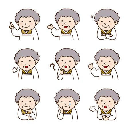 様々 なポーズで割烹着を着ての祖母のセット  イラスト・ベクター素材