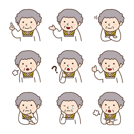 suffering: Set of Grandmother wearing a cooks apron in various poses Illustration