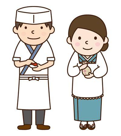 寿司シェフと若い女将