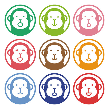 face  illustration: Colorful stamp of monkey