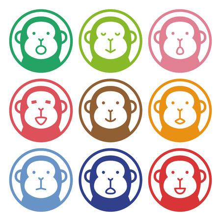 mono caricatura: Sello colorido de mono