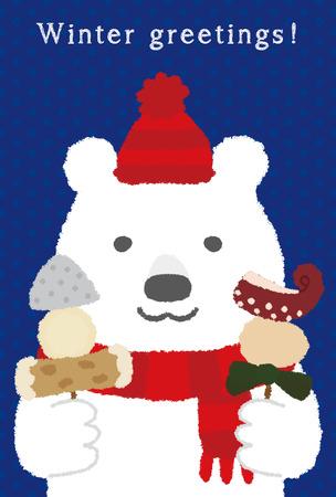 冬のご挨拶カード  イラスト・ベクター素材