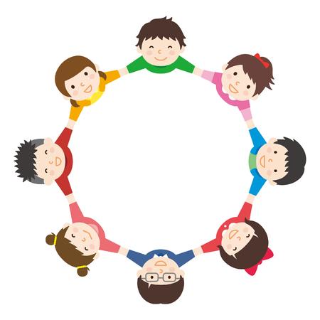 Children hold hands