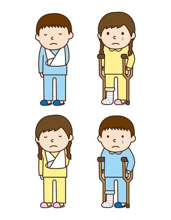 Illustration des personnes atteintes de fracture