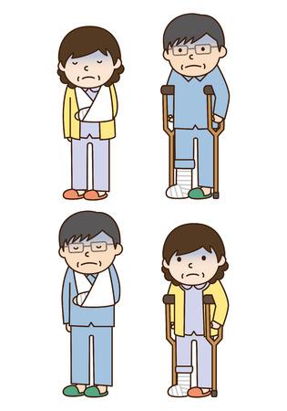 fractura: Ilustraci�n de las personas con fracturas