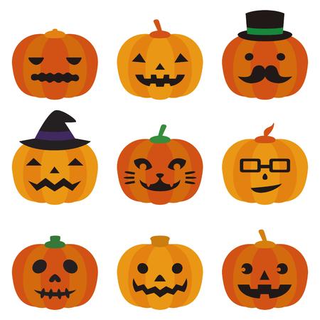 Set of halloween jack o lanterns