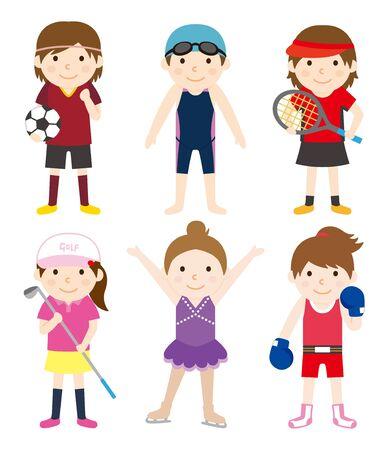 スポーツ セット女性 01  イラスト・ベクター素材