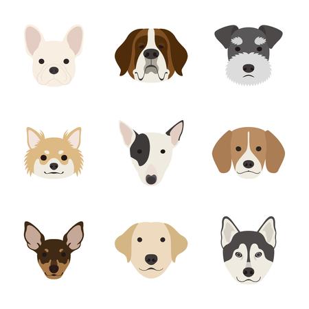 Dog face set  イラスト・ベクター素材