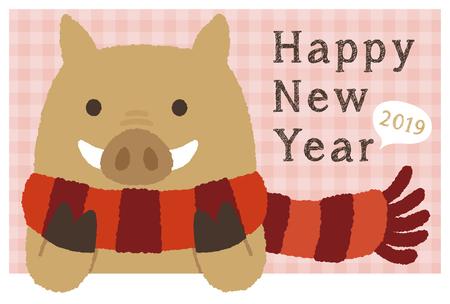 2019 new year card  イラスト・ベクター素材