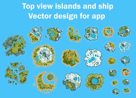 All Islands ocean sea map cartoon Vector