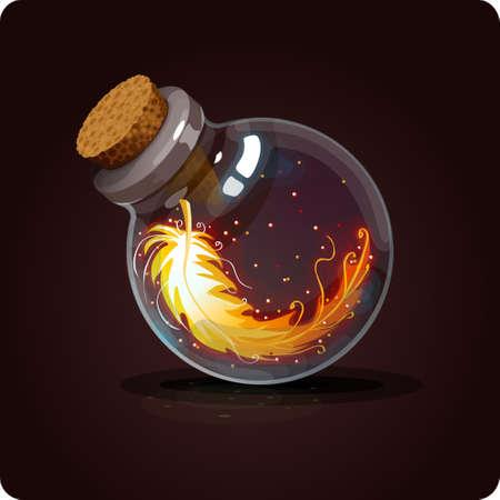 elixir: botella con pluma de fénix Vectores
