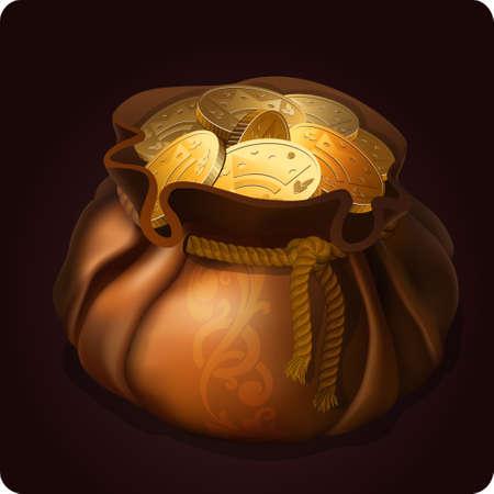 golden coins: purse icon game element  Illustration